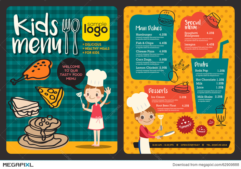 Cute Colorful Kids Meal Menu Template Illustration 62909888 Megapixl – Free Kids Menu Templates