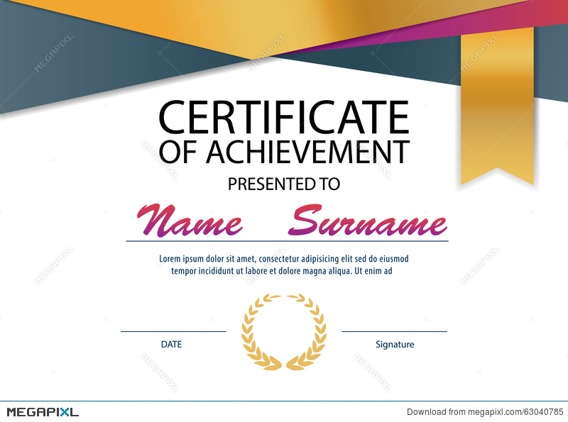 Certificate Template Diploma Layout A4 Size Illustration 63040785