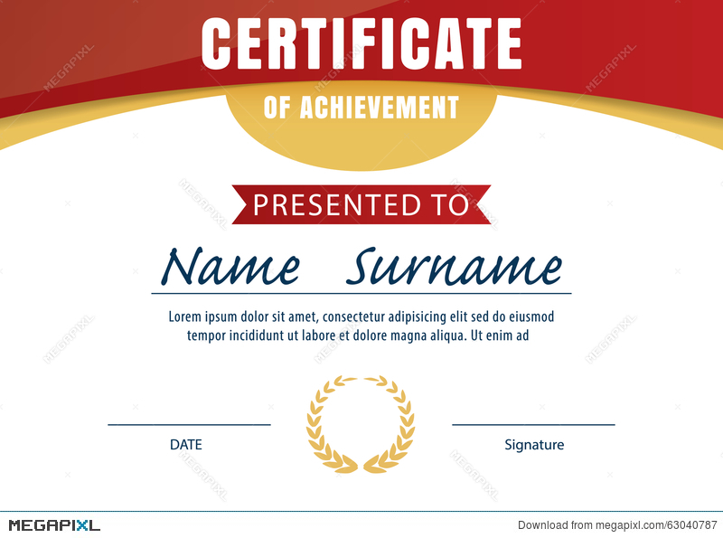 Certificate Template Diploma Layout A4 Size Illustration 63040787