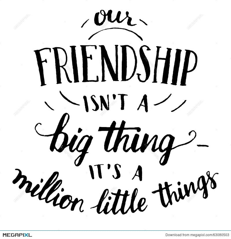 friendship hand lettering and calligraphy quote illustration