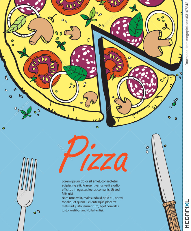 Vector Cooking Banner Template With Pizza Design A Menu Menu Template For Restaurant And Cafe Italian Cuisine Hand Drawn Objects Illustration 63107242 Megapixl