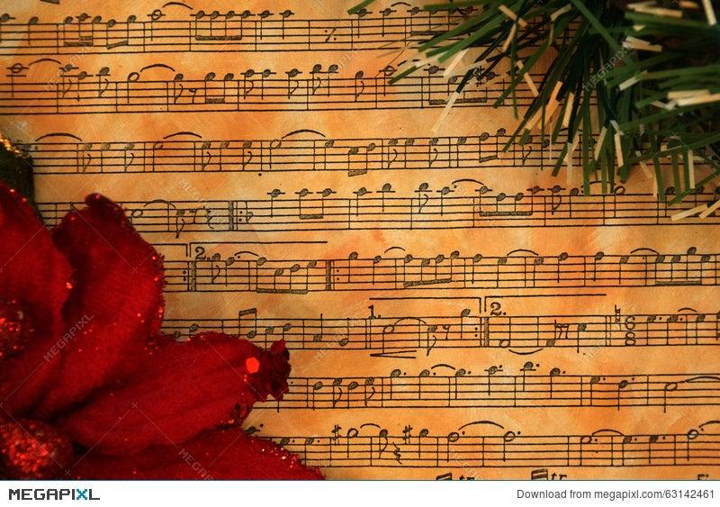 Christmas Music Background.Christmas Music Vintage Background Stock Photo 63142461