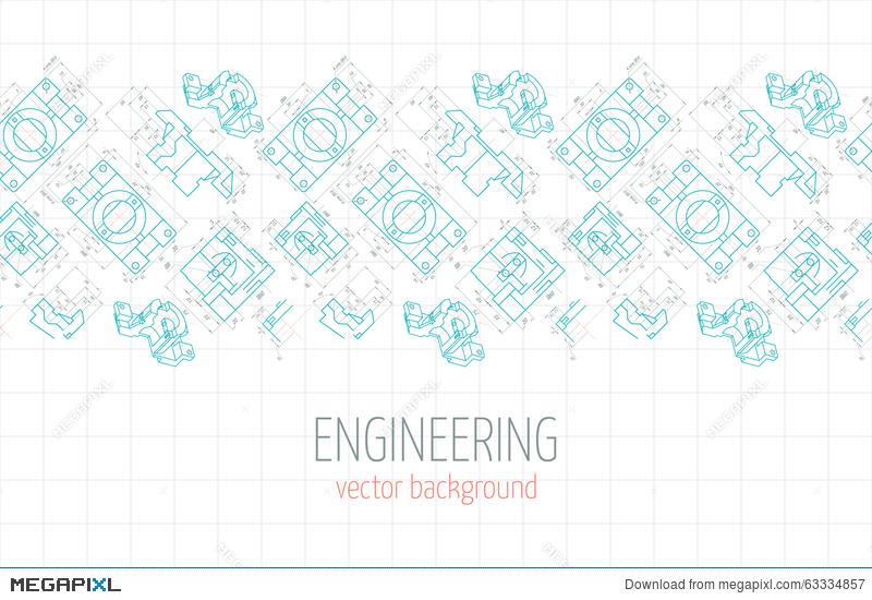 Horizontal Poster Cover Banner Background Of Blue Engineering Drawings Of Parts Vector Illustration 63334857 Megapixl