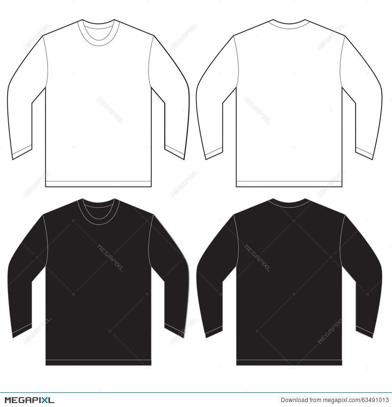 Black White Long Sleeve T Shirt Design Template Illustration 63491013 Megapixl