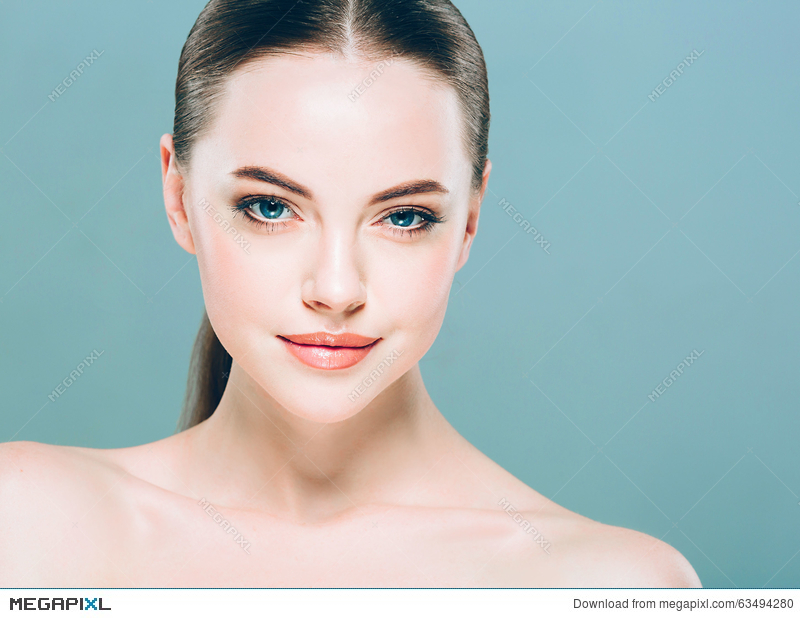 Beauty Woman Face Portrait Beautiful Spa Model Girl With Perfect Fresh Clean Skin Blue