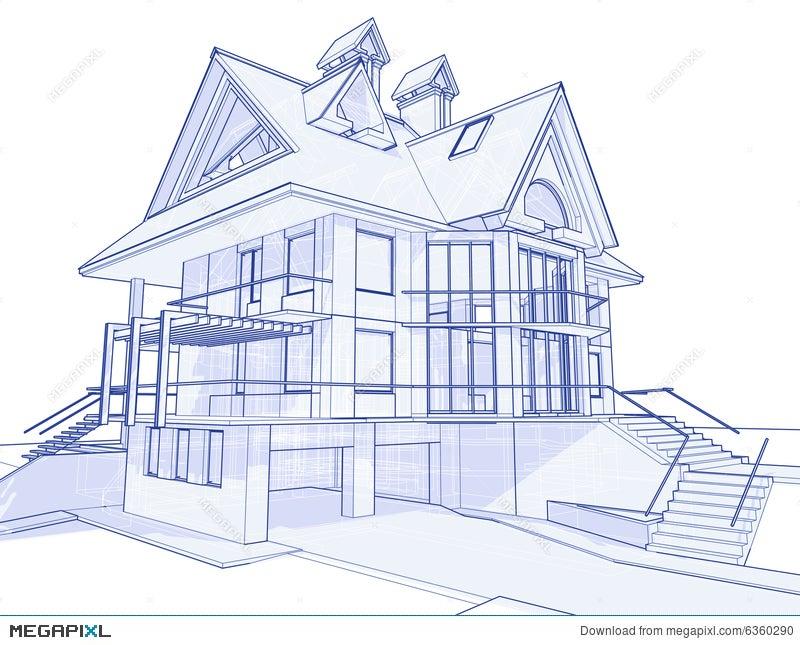 Modern house blueprint illustration 6360290 megapixl modern house blueprint malvernweather Choice Image