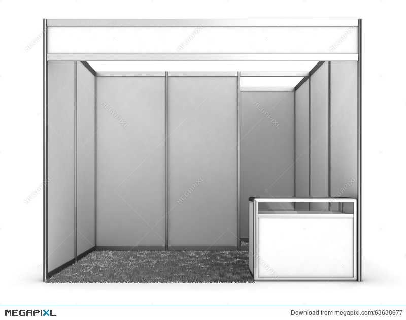 Exhibition Booth Blank : Trade exhibition stand and blank roll banner d render stock