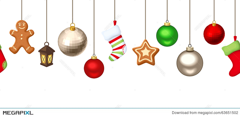horizontal seamless background with hanging christmas decorations vector illustration - Hanging Christmas Decorations