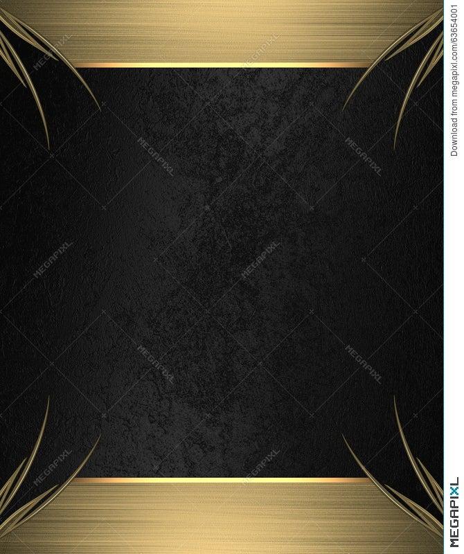 Black Background With Gold Frame Element For Design
