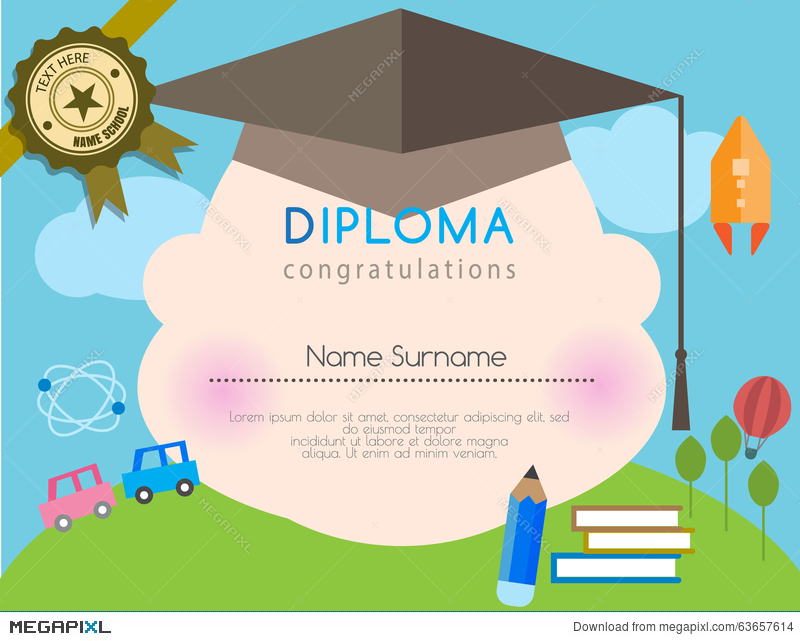 Kids diploma preschool certificate elementary school design template kids diploma preschool certificate elementary school design template background yadclub Image collections