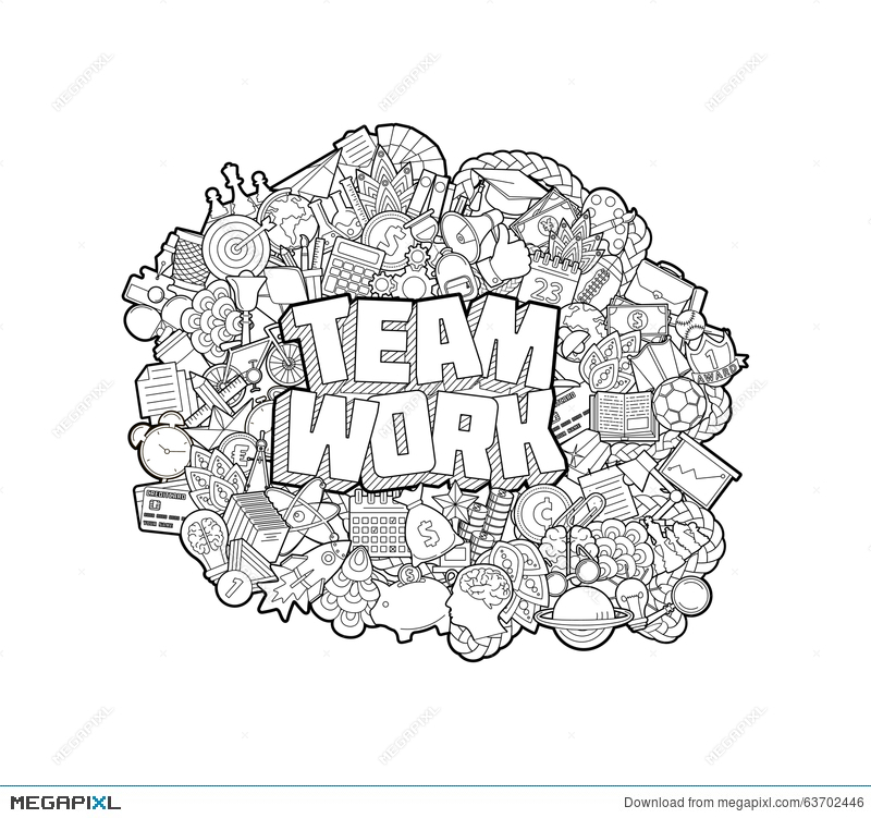 Team Work - Hand Lettering And Doodles Elements Sketch  Vector