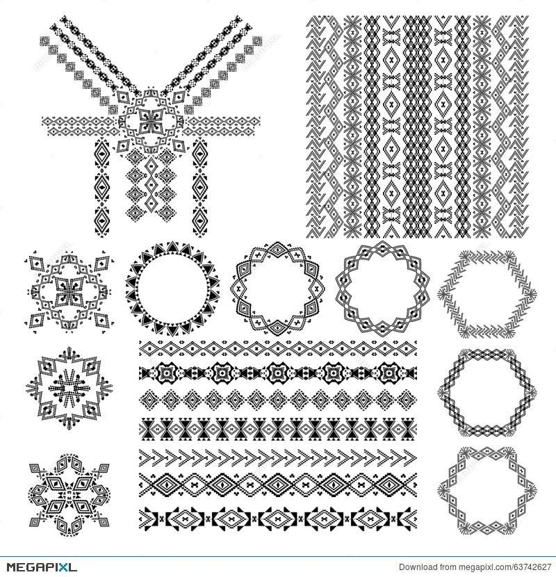 Vector Set Of Decorative Elements For Design And Fashion In Ethnic Tribal Style Neck Design Patterns Seamless Texture Frames Illustration 63742627 Megapixl