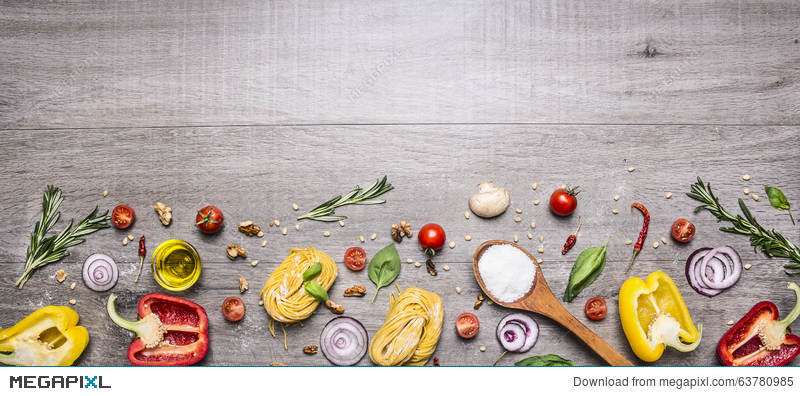 Pasta Tomatoes And Ingredients For Cooking On Rustic Background Top View Border