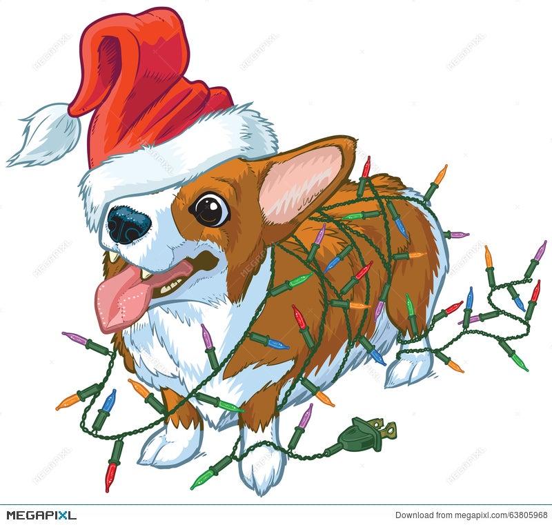 corgi dog with santa hat and christmas lights vector illustratio - Christmas Corgi