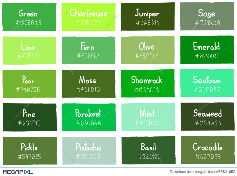 Green Tone Color Shade Background With Code And Name