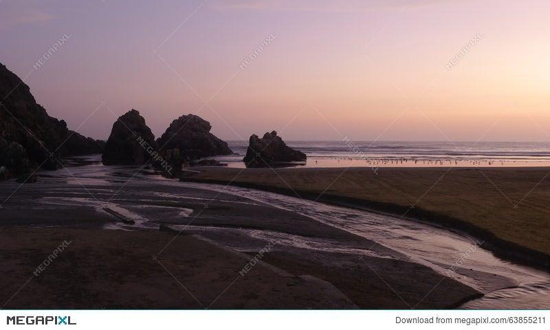 Sunset In Totoritas Beach Resort Of Lima Peru