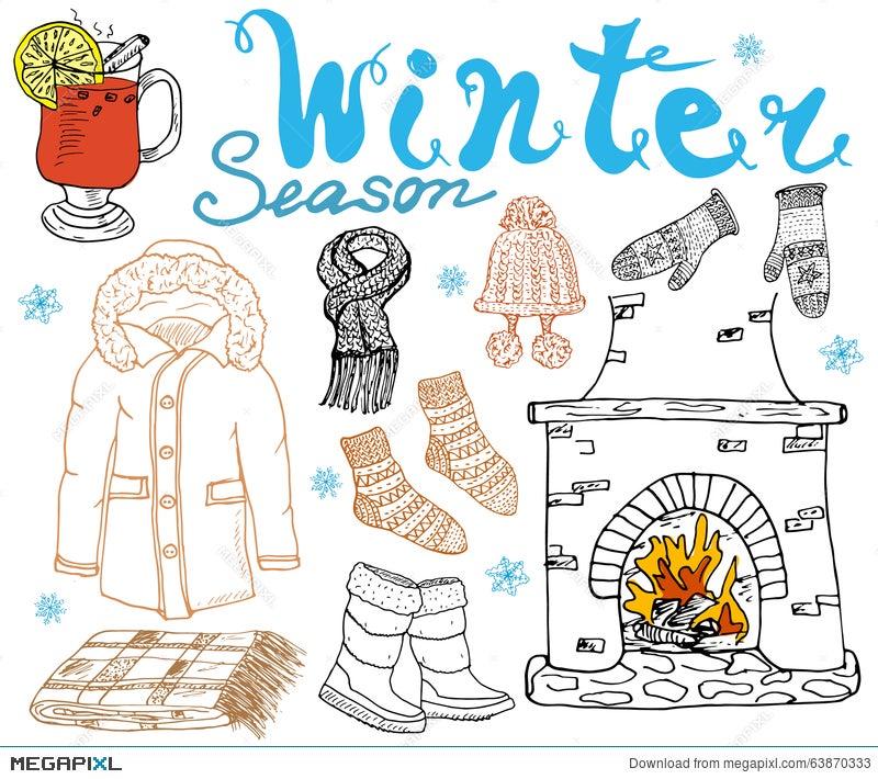 Winter Season Set Doodles Elements Hand Drawn Set With