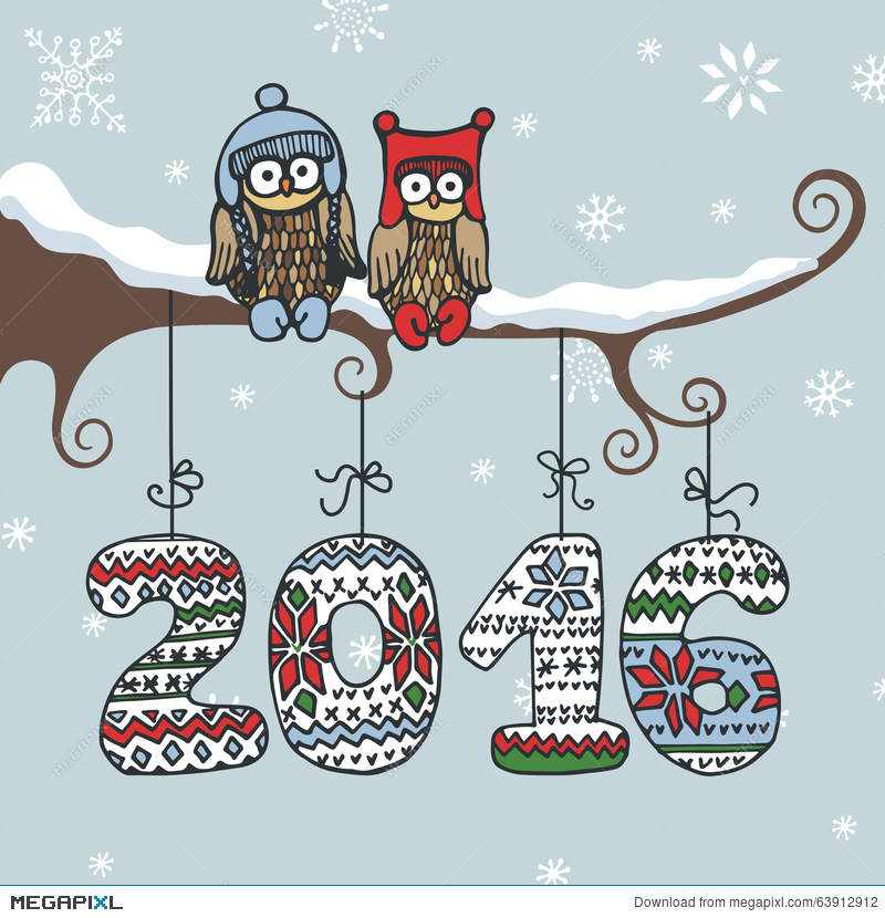 new year greeting card doodle owl knitted numbers
