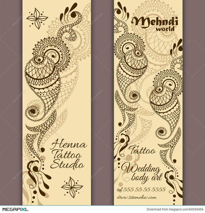 Vector Set Of Banners Or Cards In Indian Ornamental Style. Mehndi ...