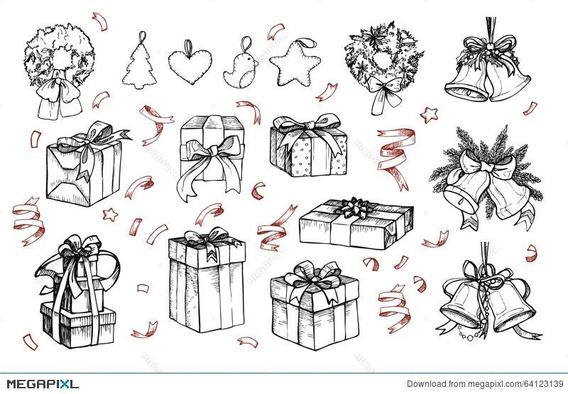 Christmas Illustrations Vintage.Mega Vintage Set Hand Drawn Vector Illustrations Merry