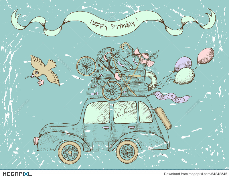 Vintage Happy Birthday Card With Old Car Illustration 64242845