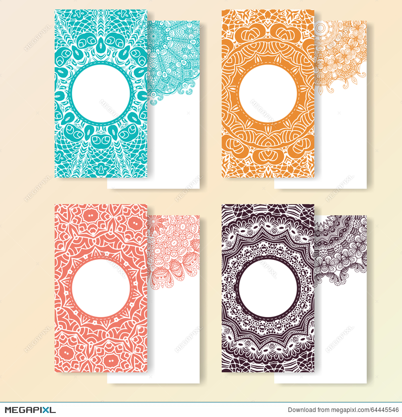 Set Of Cards. Ornate Design Can Used For Invitation, Greeting Or ...