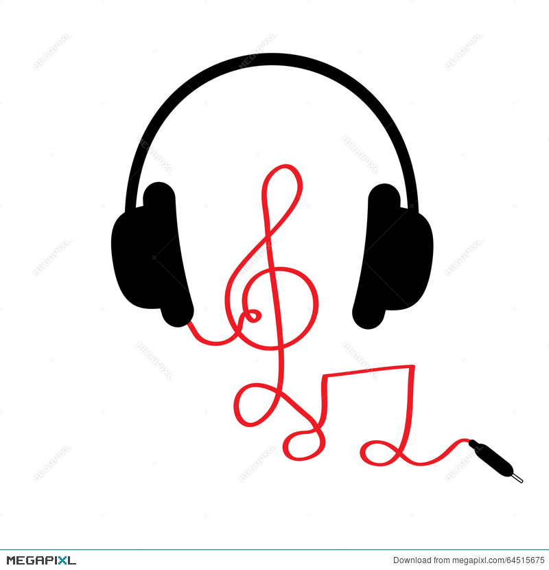 Headphones With Treble Clef Note Red Cord And Word Music Card