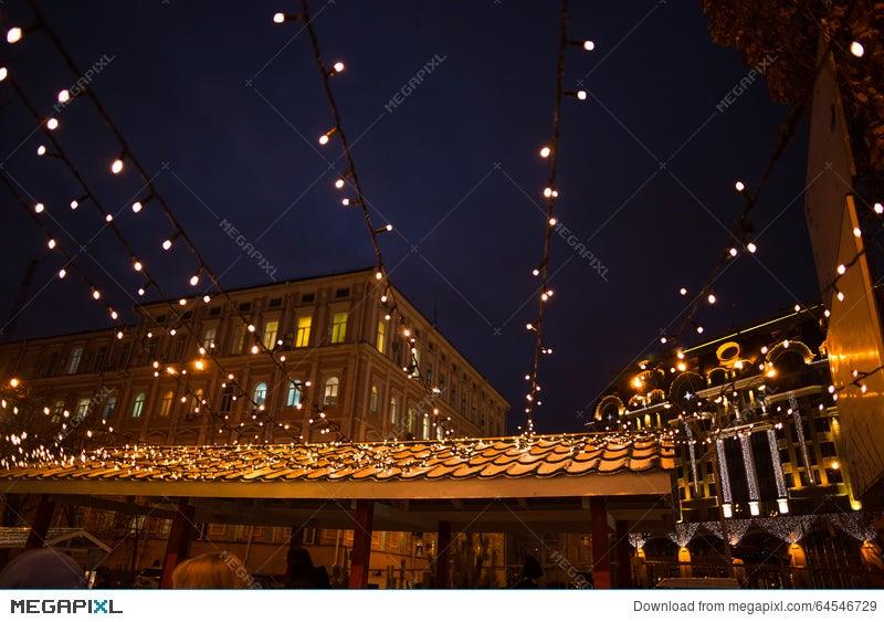 Christmas street lights decorations in european