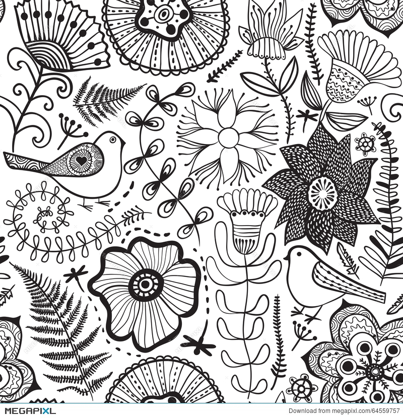 Vector Flower Pattern Black And White Seamless Botanic Texture Detailed Flowers Illustrations All