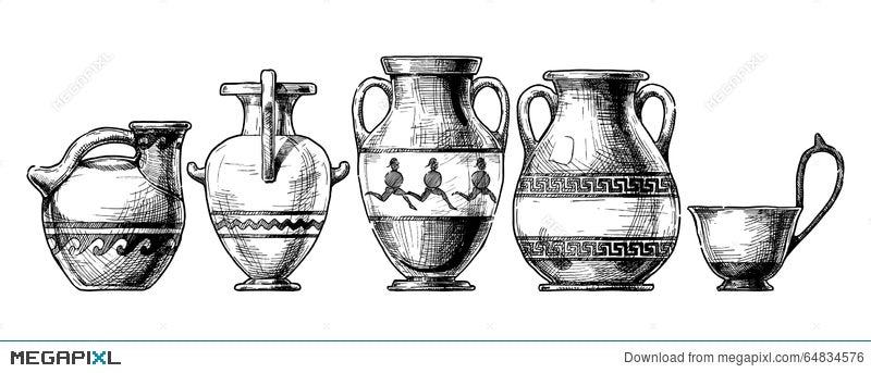 Pottery Of Ancient Greece Illustration 64834576 Megapixl
