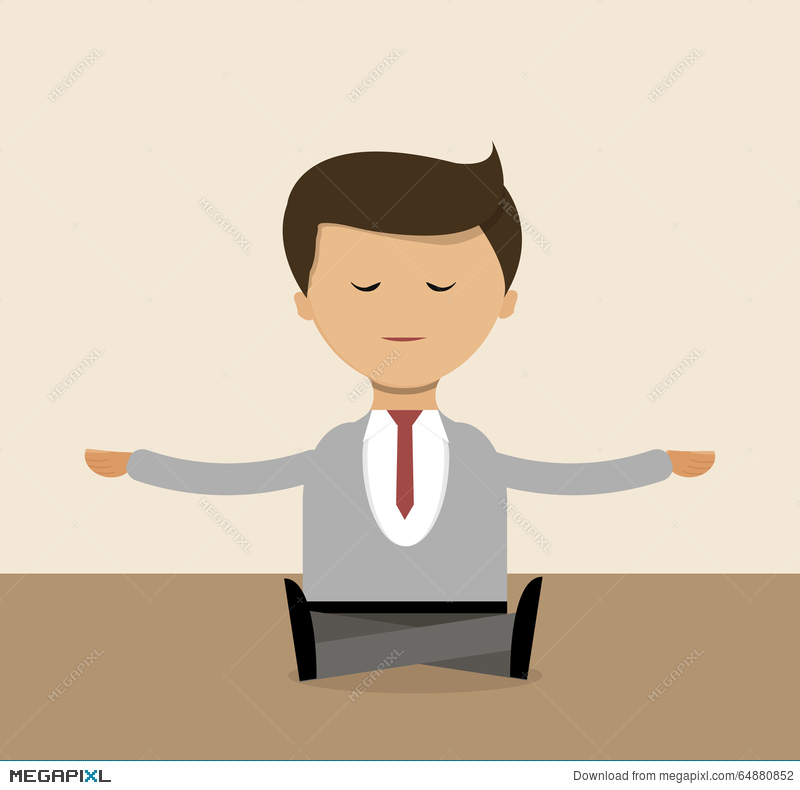meditation businessman office. business concept in flat design businessman doing yoga right the office meditation a