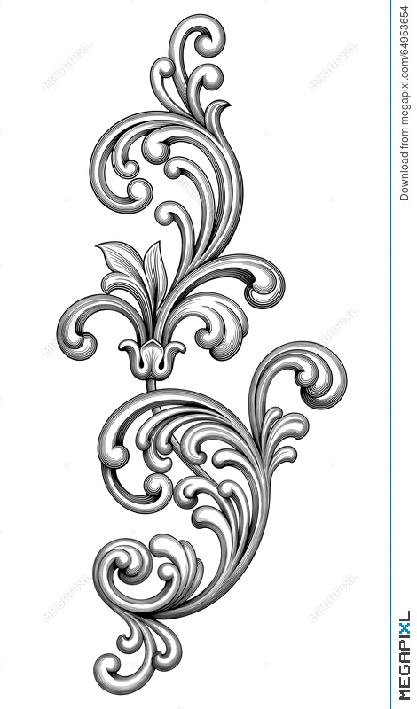victorian frame design. Vintage Baroque Victorian Frame Border Monogram Floral Ornament Scroll Engraved Retro Pattern Tattoo Calligraphic Design C