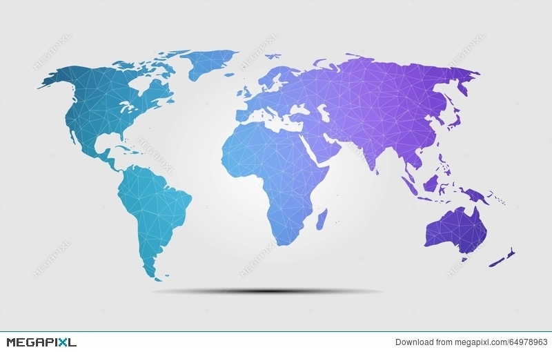 high quality world map polygon background vector illustration