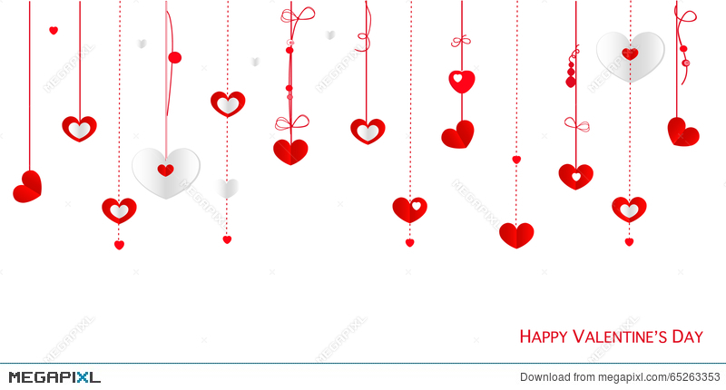 Happy valentines day greeting card with border design hanging happy valentines day greeting card with border design hanging hearts vector background m4hsunfo