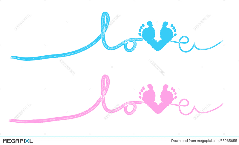 Baby foot prints with heart baby shower greeting card illustration baby foot prints with heart baby shower greeting card m4hsunfo