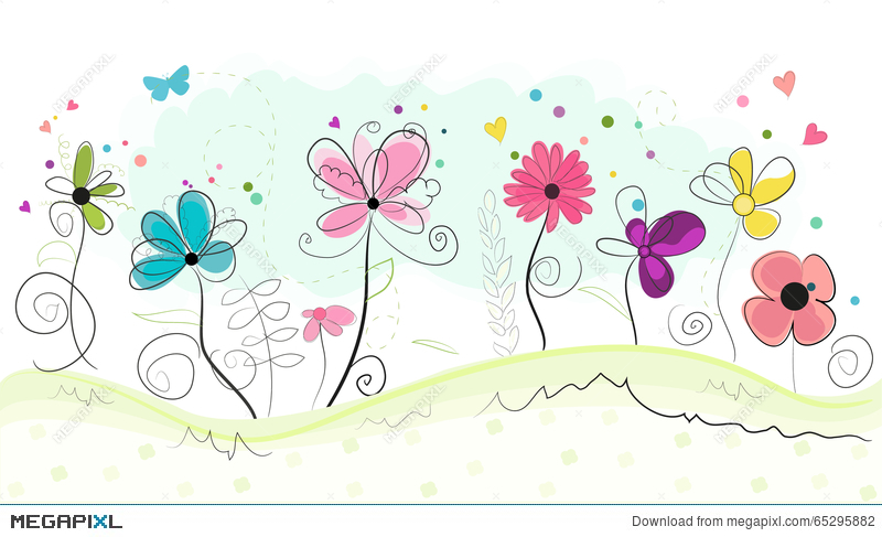 Floral Doodle Abstract Colorful Flowers Vector Background