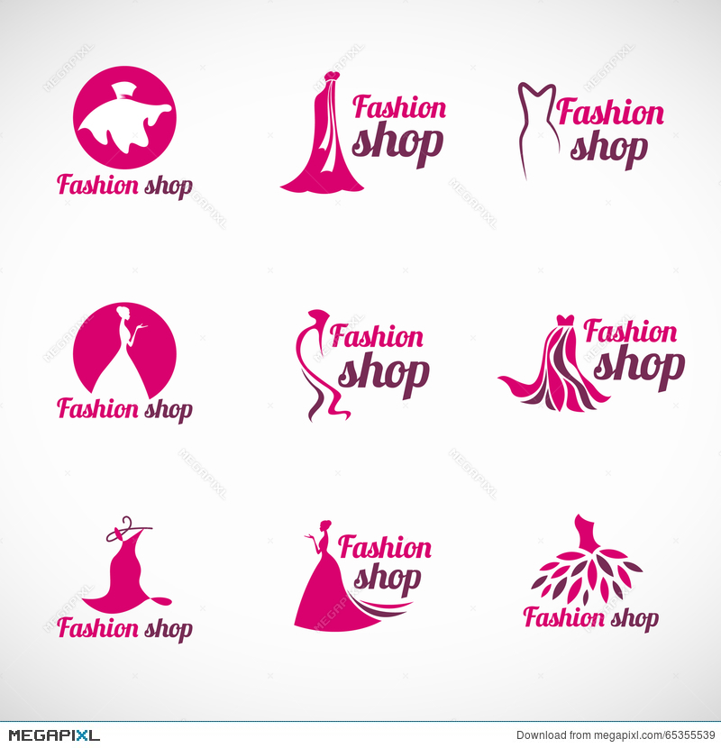 Pink Woman Dress Fashion Shop Logo Vector Set Design Illustration 65355539 Megapixl