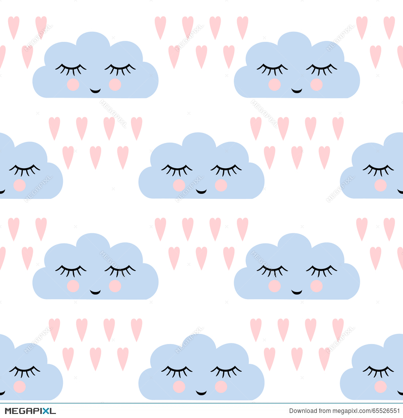 Clouds Pattern  Seamless Pattern With Smiling Sleeping
