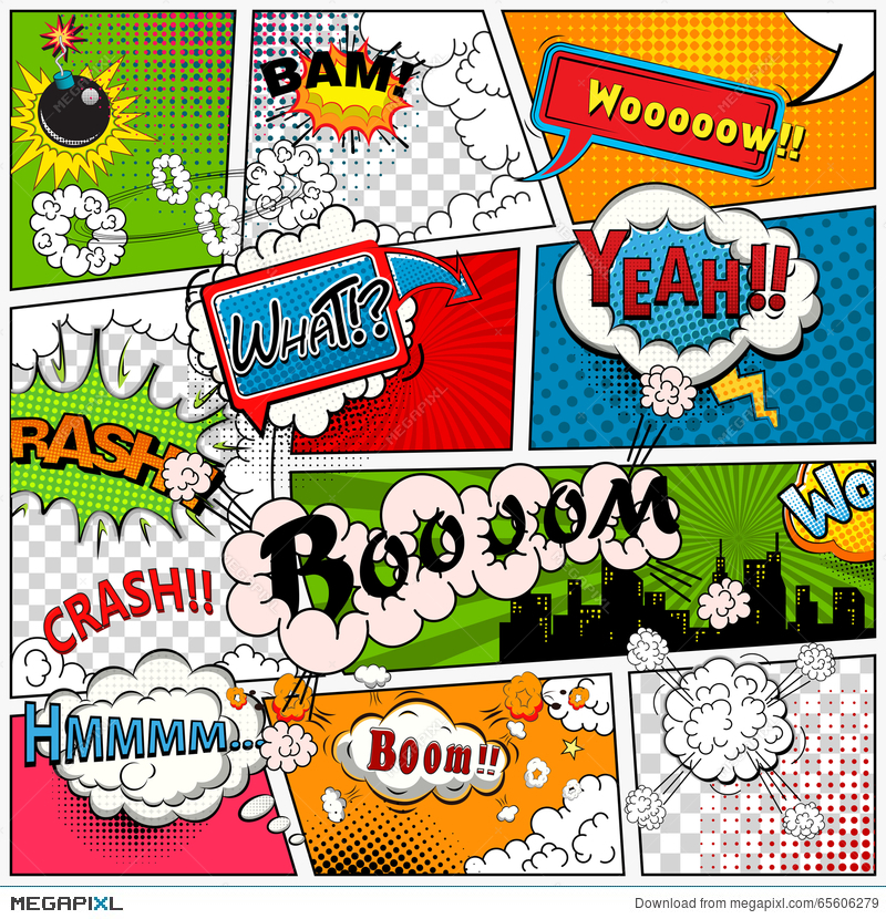 comic book page divided by lines with speech bubbles sounds effect