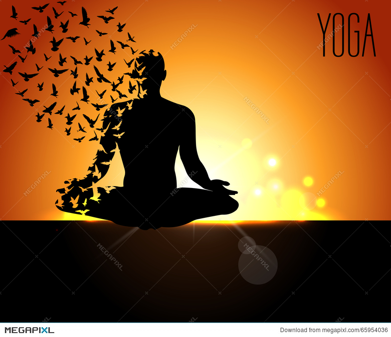 Poster Design For Celebrating International Yoga Day Pose With Birds Flying And Early Morning
