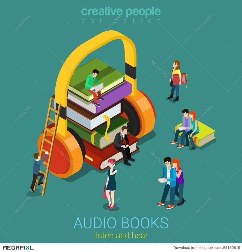 Audio Books Flat 3D Vector Electronic Library: Books Headphones