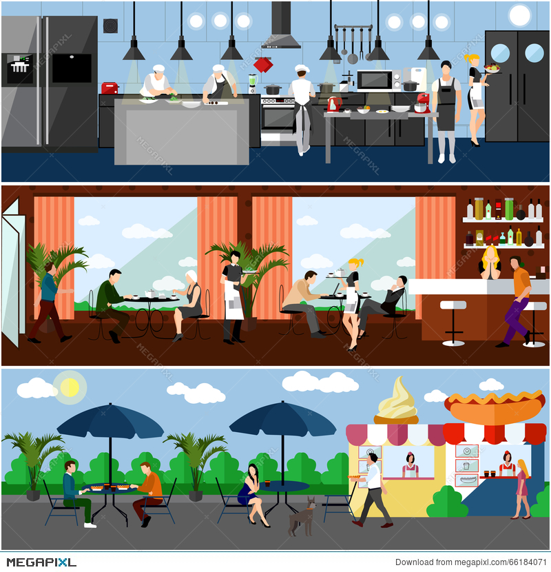 Vector Banner With Restaurant Interiors. Kitchen, Dining Room And Street  Cafe. Illustration In