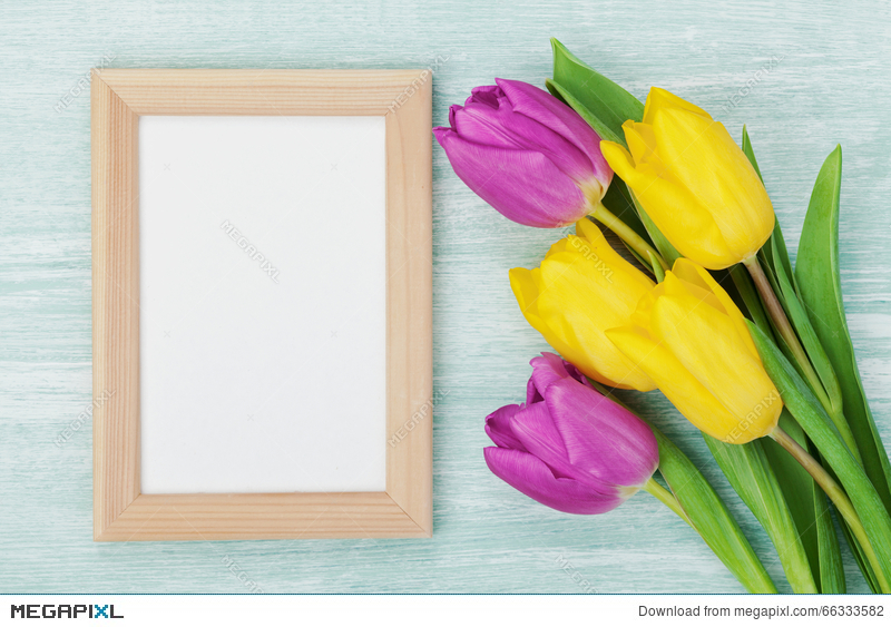 empty frame and tulip flowers on rustic table for march 8 international womens day - Empty Frame