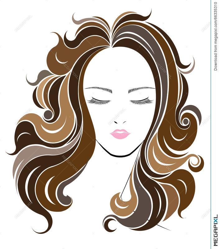 Long Hair Style Icon Logo Women Face Illustration 66335310 Megapixl