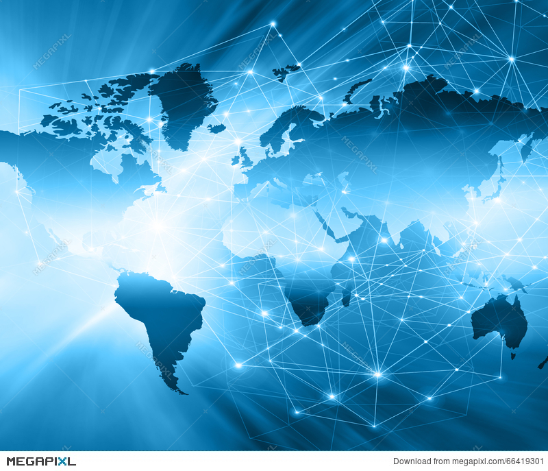 World map on a technological background glowing lines symbols of world map on a technological background glowing lines symbols of the internet radio gumiabroncs Images