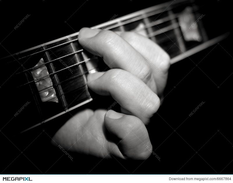 Guitar Player Fretboard Playing Chords Black Stock Photo 6667864