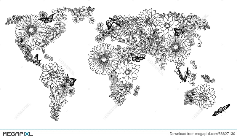 Floral world map for coloring books illustration 66627130 megapixl floral world map for coloring books gumiabroncs Choice Image