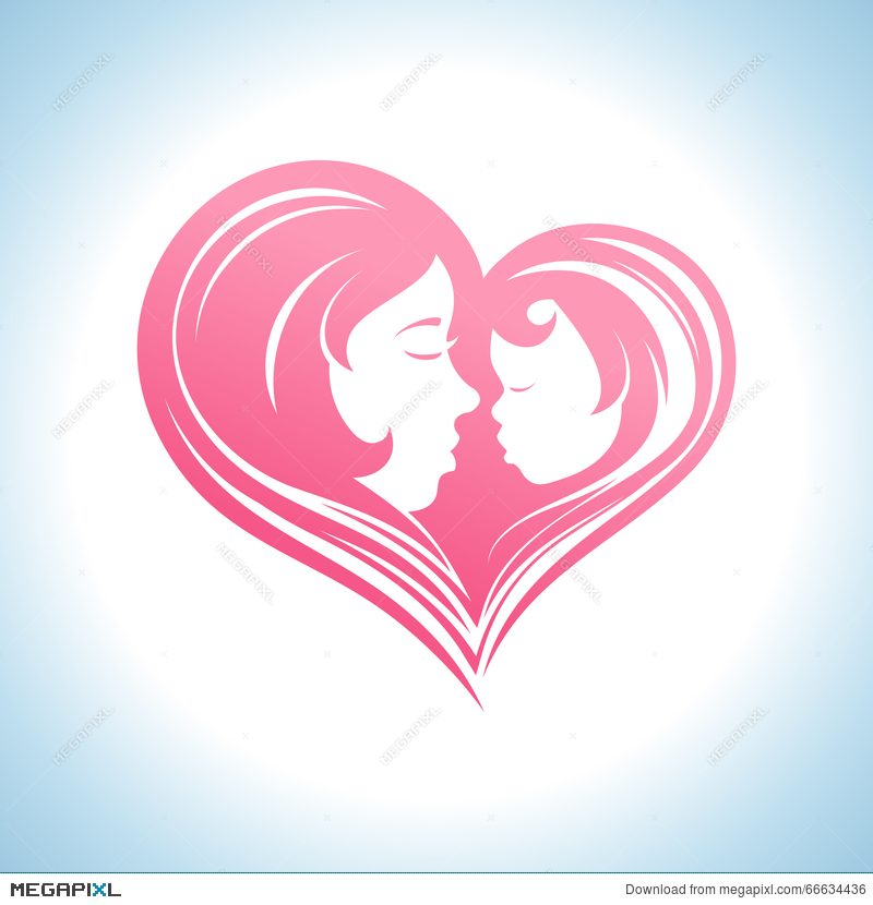 Mother And Child Heart Shaped Silhouette Symbol Illustration
