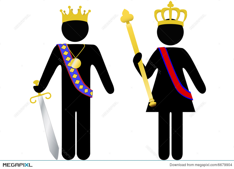 Symbol Person Royal King And Queen With Crowns Illustration 6679904