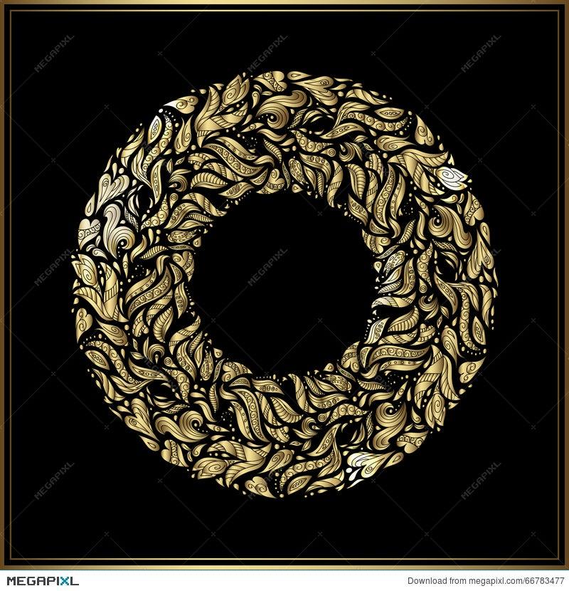 Gold round frame on black background vector floral decoration made gold round frame on black background vector floral decoration made from swirl shapes greeting stopboris Choice Image